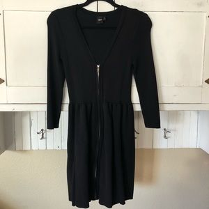 ASOS Classic Black V Neck Zip Up Sweater Dress 6